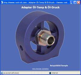 Alu Ölfilter Adapter für Öltemperatur Geber für BMW 6-Zyl.
